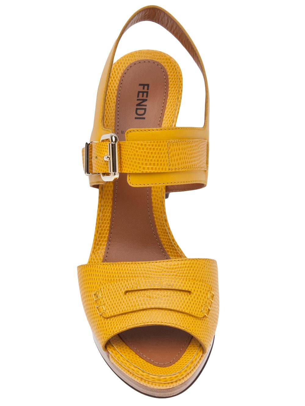 Lyst Fendi Block Heel Sandal In Yellow