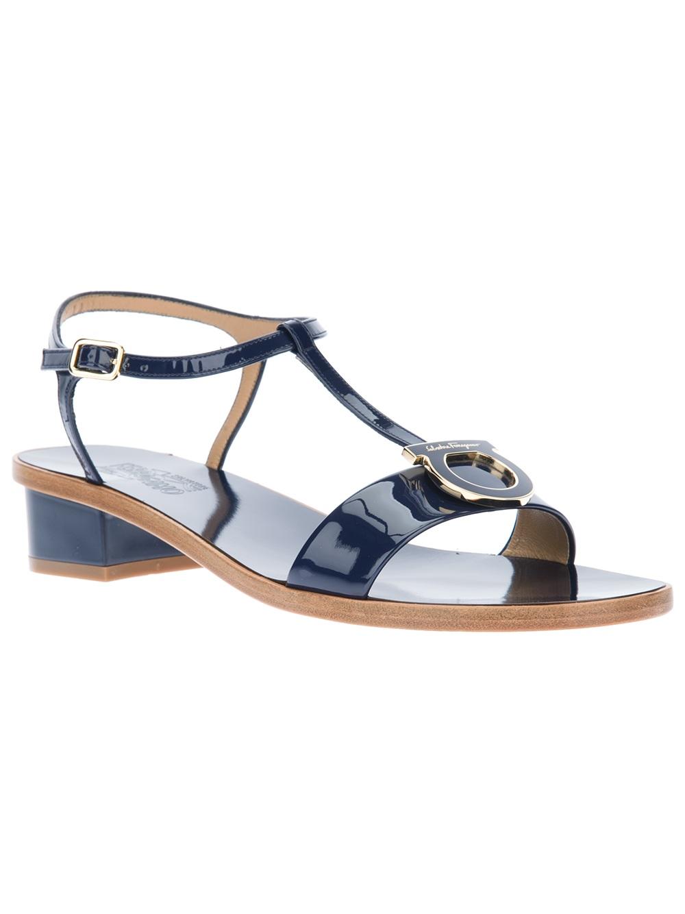 8bde903c7fd7 Lyst - Ferragamo Sirene Flat Sandal in Blue