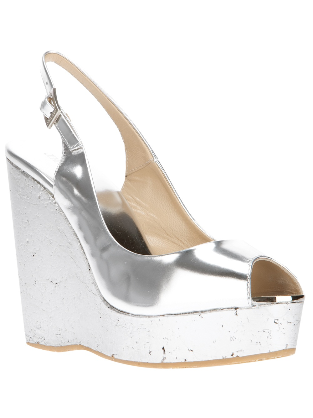 Jimmy Choo Wedge Sandal In Metallic Lyst