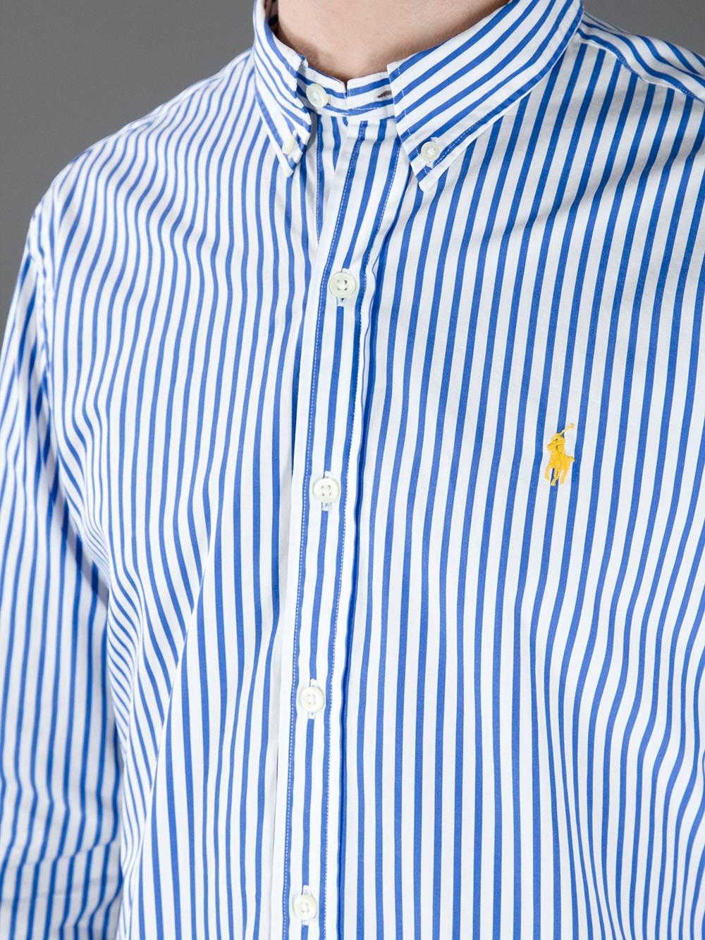 Best Lyst - Polo Ralph Lauren Pinstripe Shirt in Blue for Men UL94