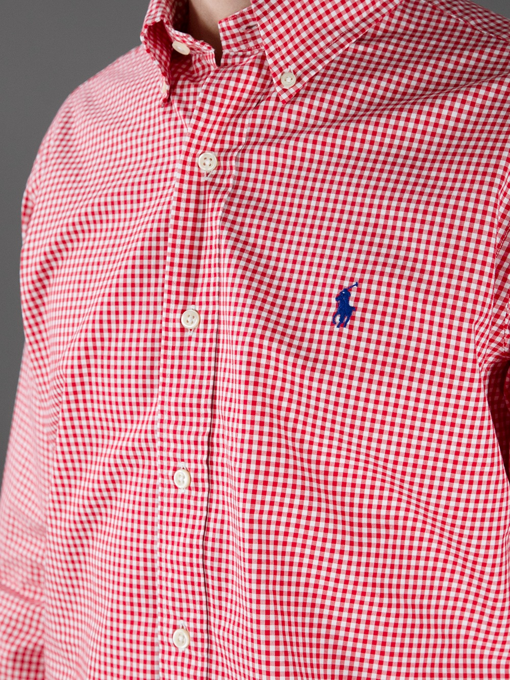 Polo Ralph Lauren Checked Long Sleeve Polo Shirt In Red
