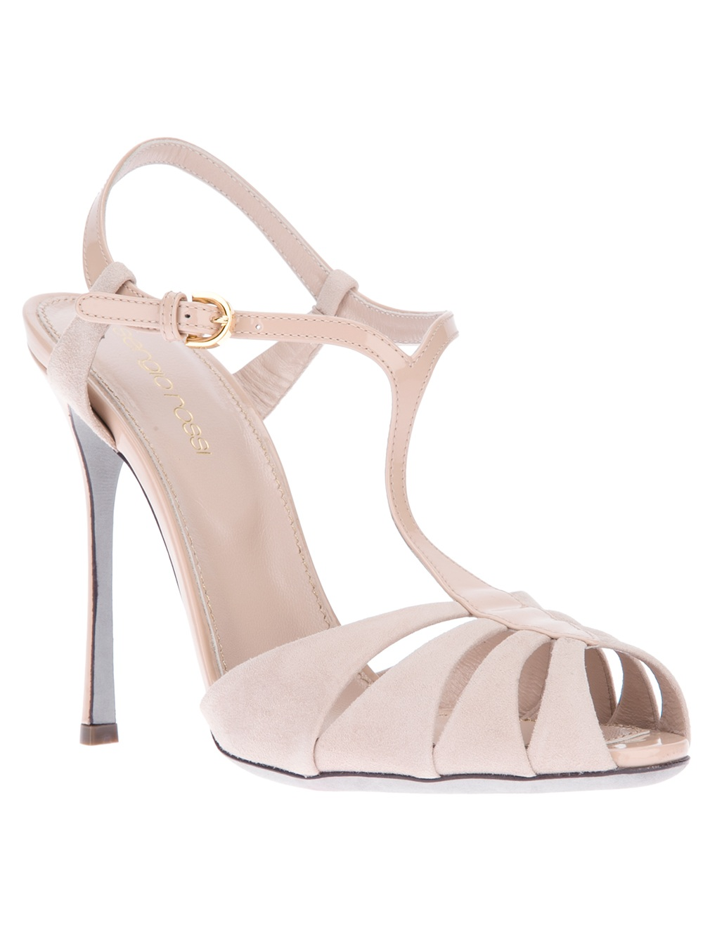 Sergio rossi T Bar Sandal in Pink   Lyst