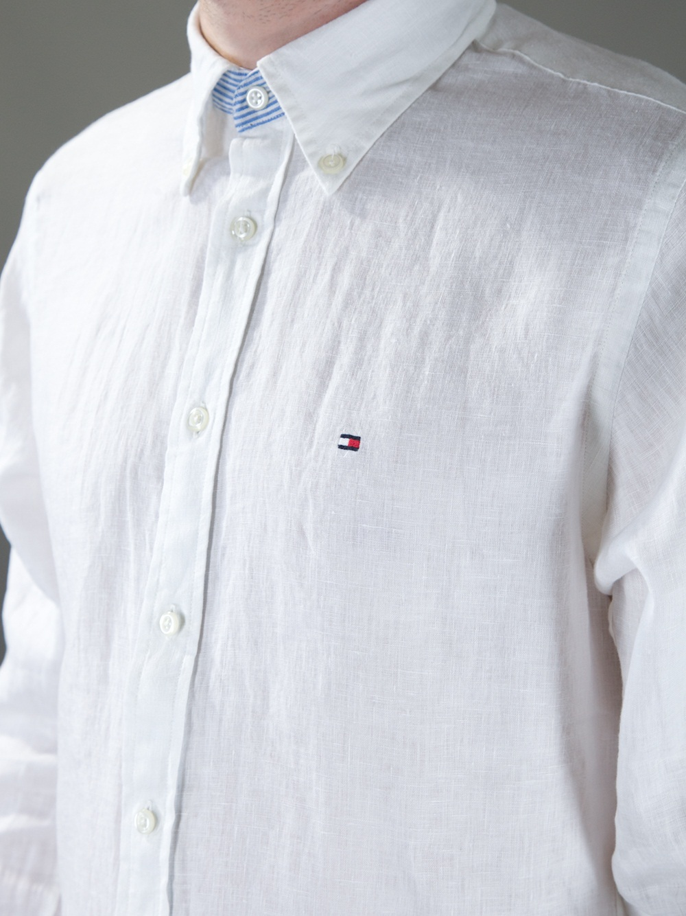 tommy hilfiger classic linen shirt in white for men lyst. Black Bedroom Furniture Sets. Home Design Ideas