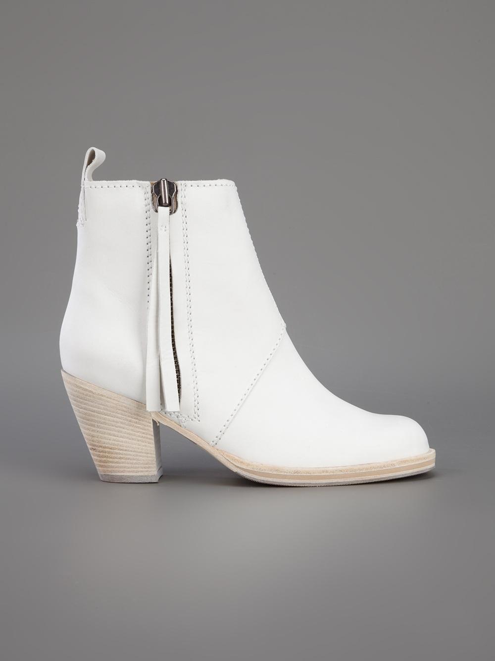 9936c5bda1977 Lyst - Acne Studios Pistol Ankle Boot in White