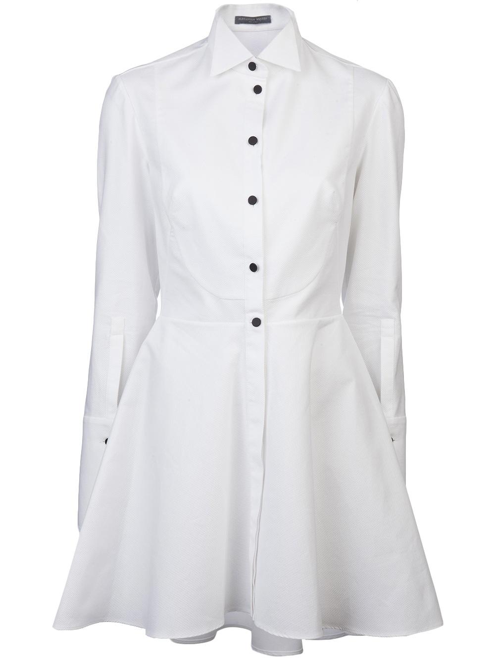 Lyst Alexander Mcqueen Tuxedo Shirt Dress In White