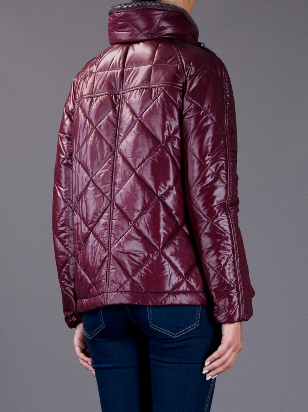 Lyst Burberry Quilted Jacket In Red