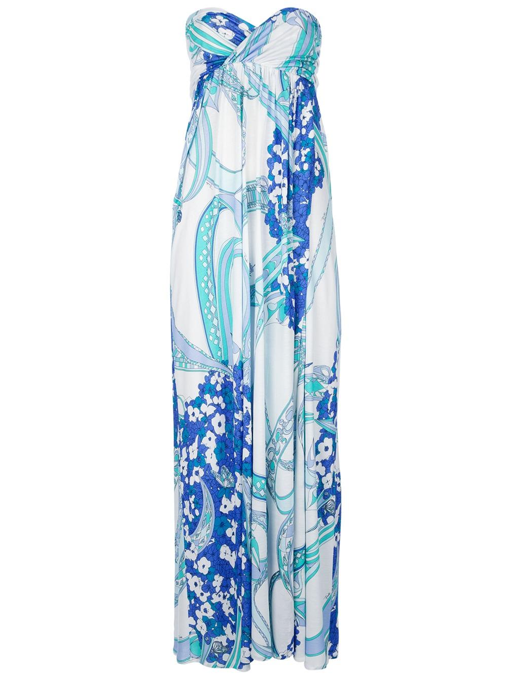 04d77e2112957 Emilio Pucci Strapless Maxi Dress in Blue - Lyst