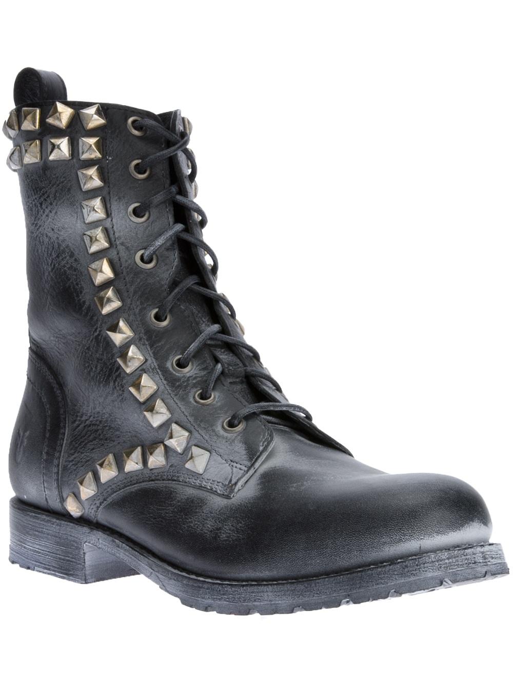 1352e0d78fa9 Lyst - Frye Rogan Biker Boots in Black