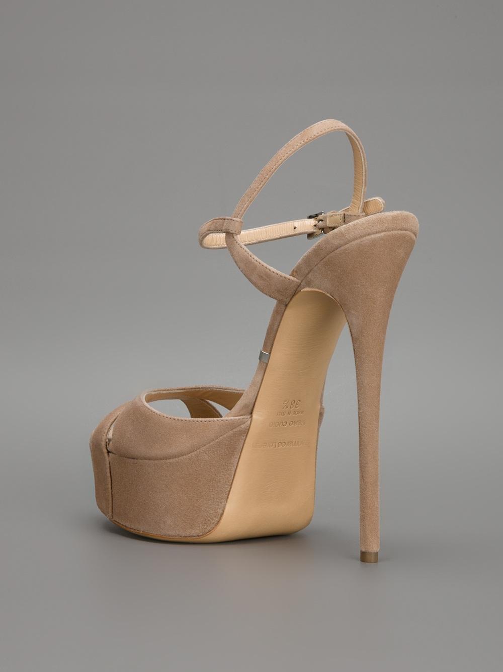 Lyst Gianmarco Lorenzi Stiletto Platform Sandal In Natural