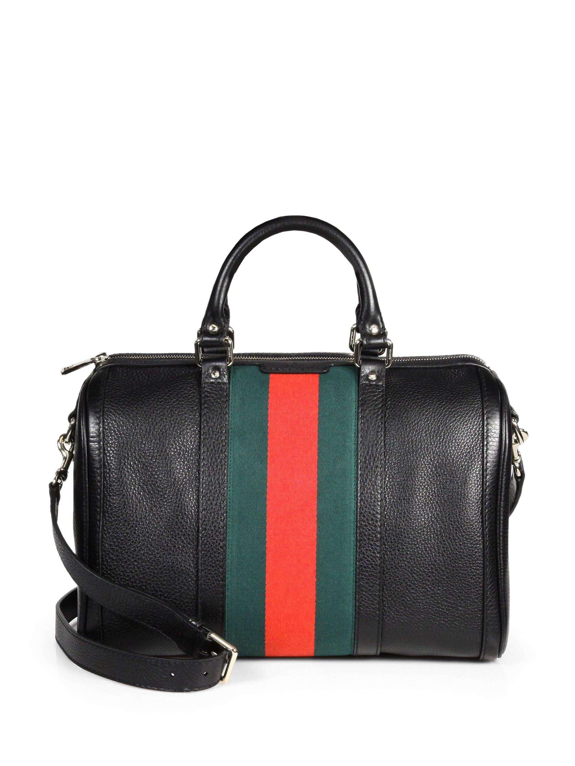 gucci vintage web medium boston bag in black lyst