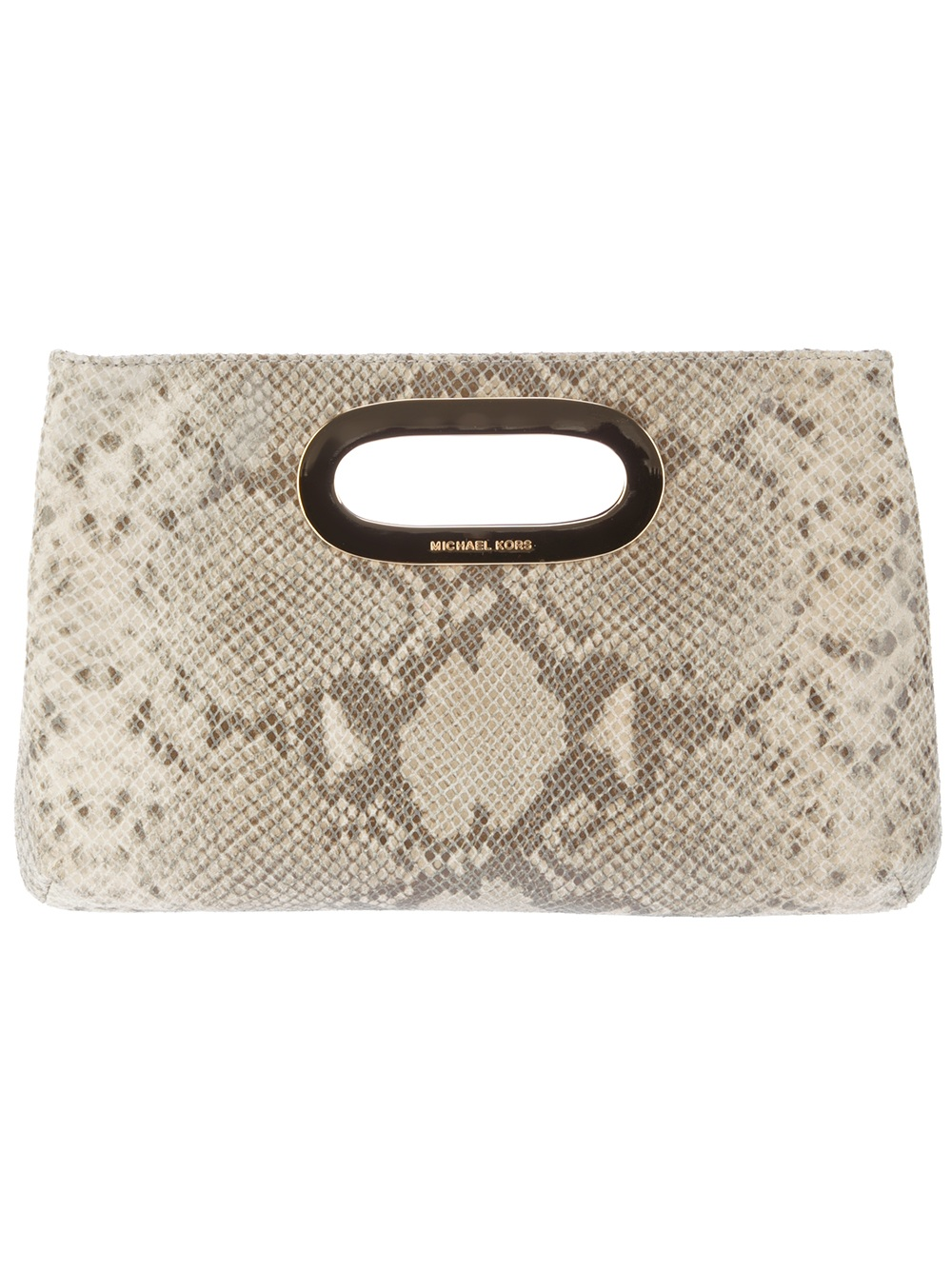 5eb60e5dc76f Lyst - Michael Kors Snakeskin Print Bag in Natural