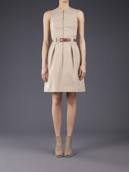 michael kors belted sleeveless dress in beige brown lyst
