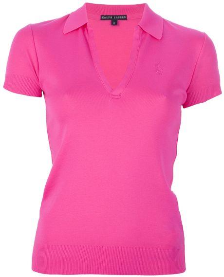 Ralph lauren black label vneck polo shirt in purple pink for Black ralph lauren shirt purple horse