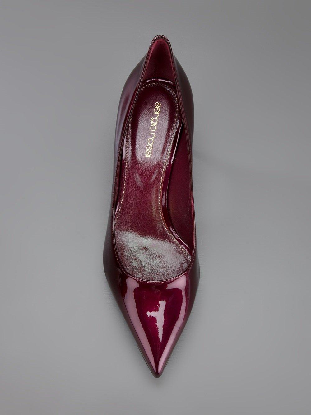 Lyst Sergio Rossi Patent Kitten Heel Pump In Red