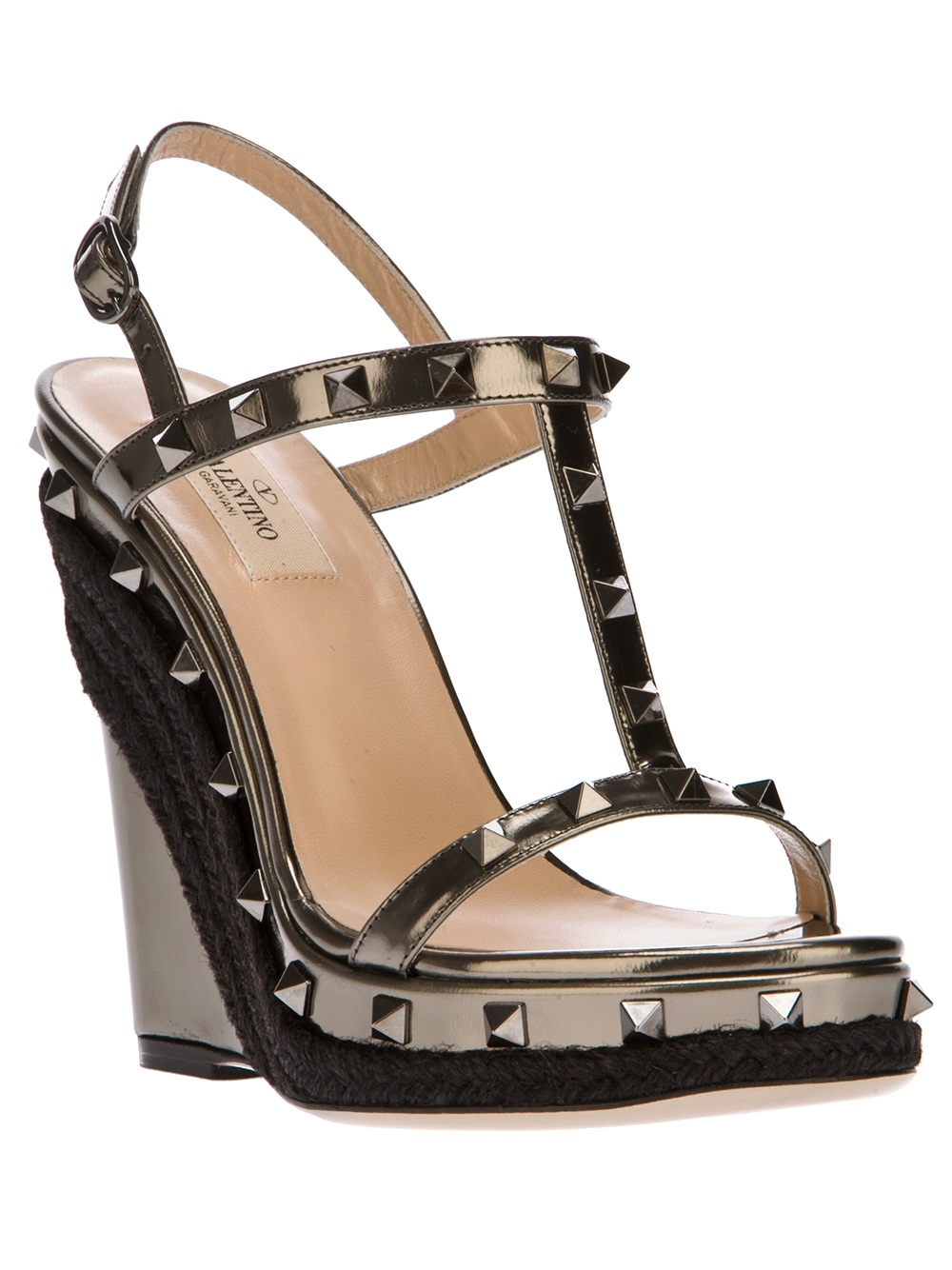8005d8e2071 Lyst - Valentino Rockstud Wedge Sandal in Brown