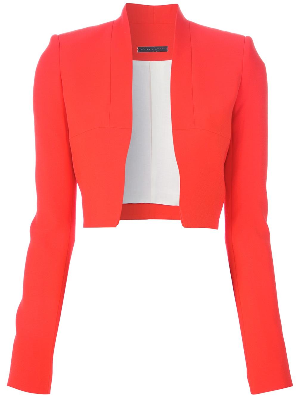 Victoria beckham Cropped Blazer in Pink | Lyst