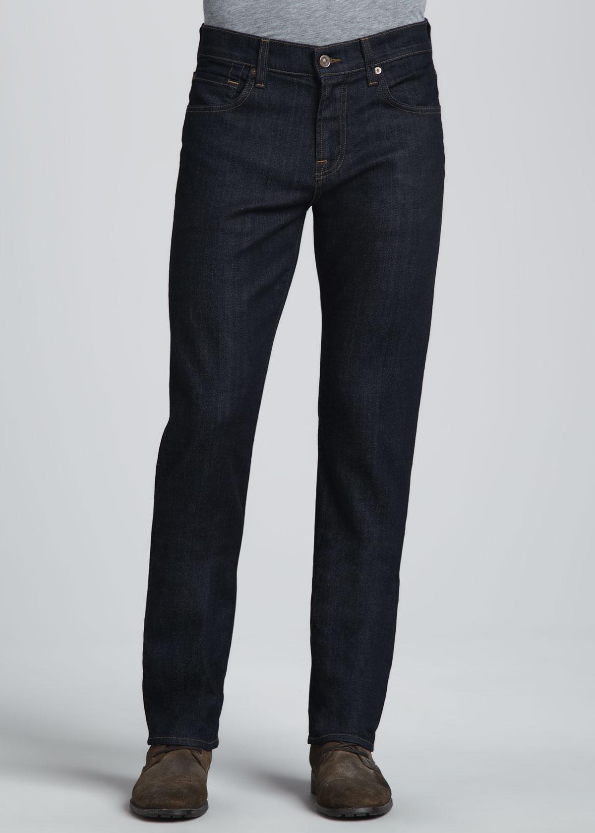 7 for all mankind carsen dark clean jeans in blue for. Black Bedroom Furniture Sets. Home Design Ideas
