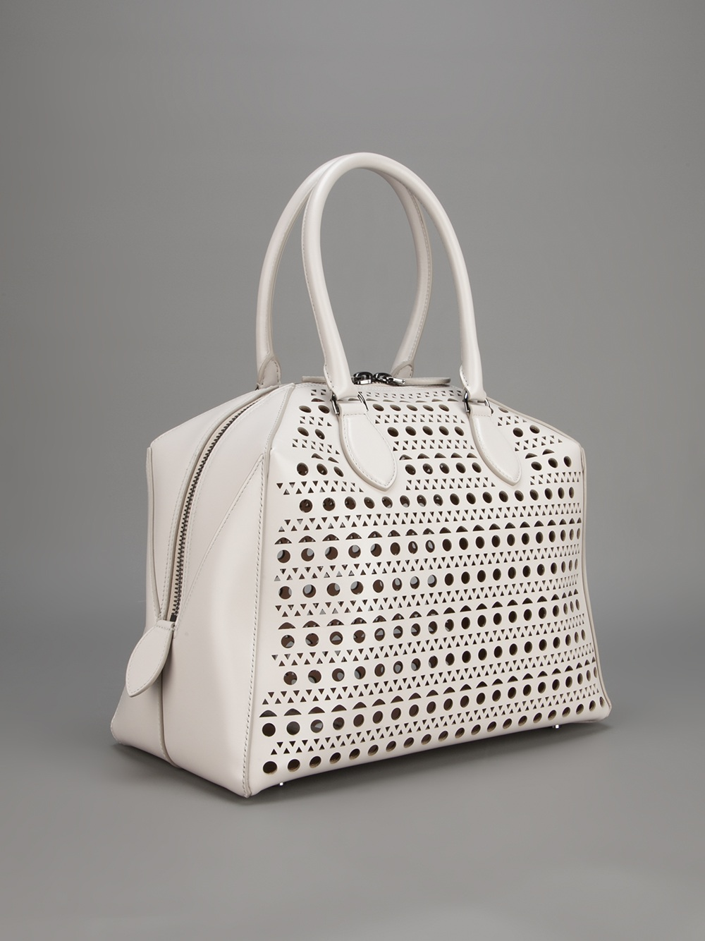 Women's White Perforated Small Leather Bucket Bag - Lyst