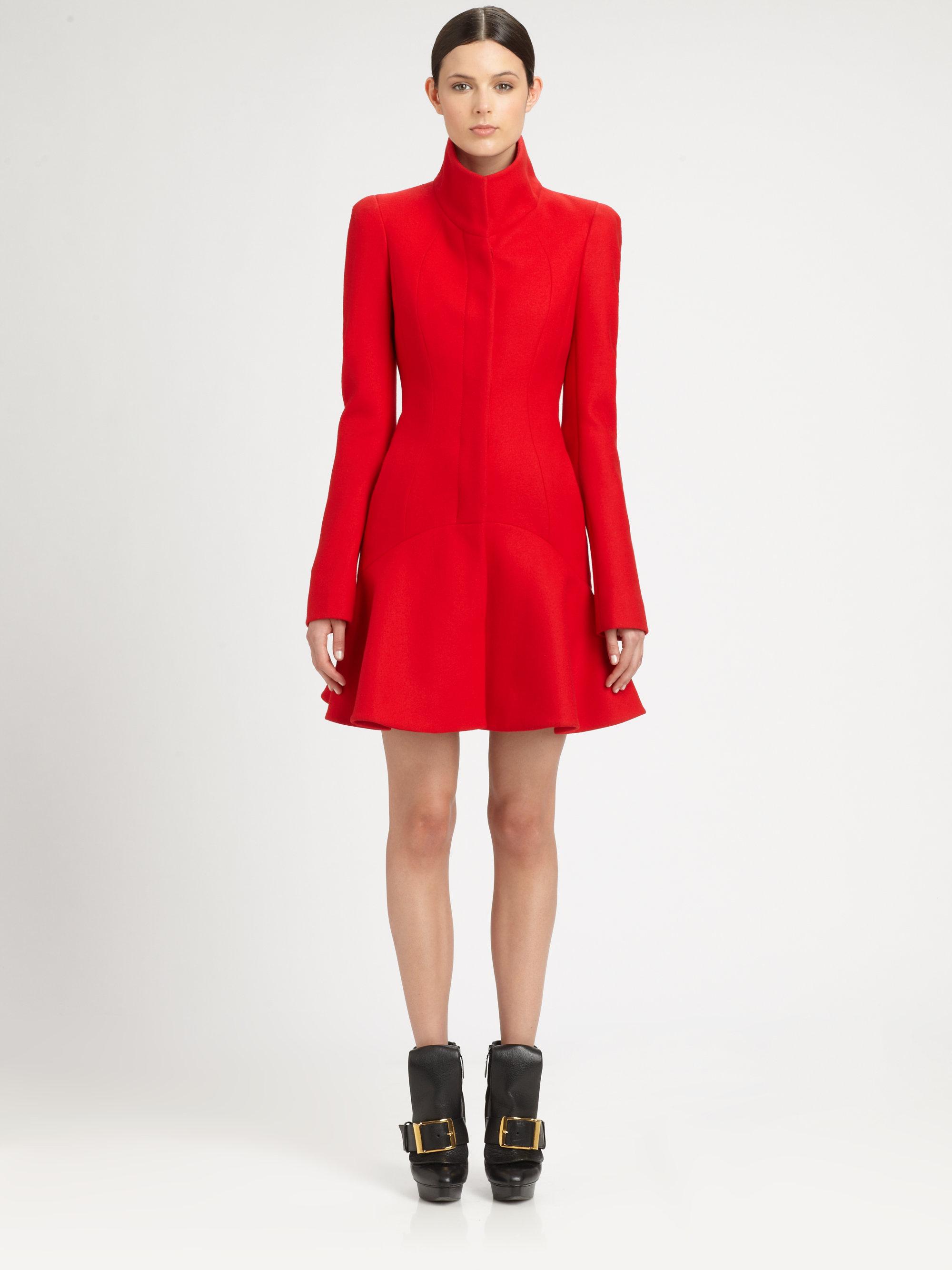Lyst Alexander Mcqueen Wool Crepe Flounce Coat In Red
