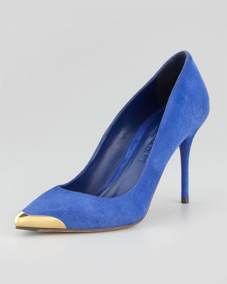 Pointed metaltoe suede pump royal blue in blue royal blue lyst