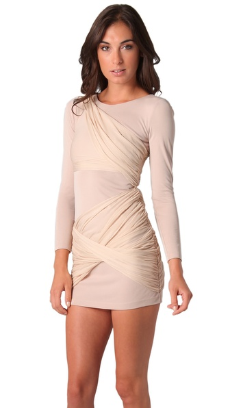 Alice   olivia Alice Olivia Long Sleeve Goddess Dress in Natural ...