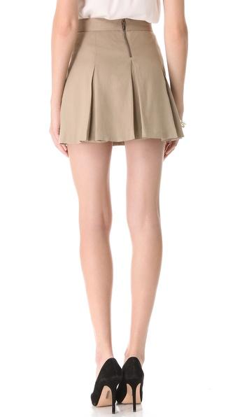 Alice   olivia Box Pleat Khaki Skirt in Natural | Lyst