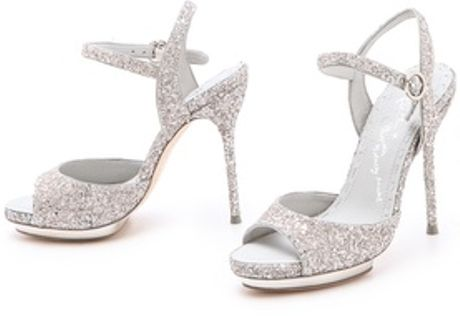 Alice Olivia Posey Glitter Sandals In Silver Lyst