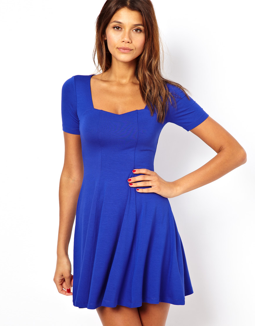 4956cea5307e Lyst - ASOS Skater Dress with Sweetheart Neck and Short Sleeves in Blue