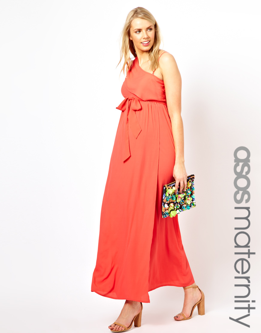 Asos exclusive maxi dress with one shoulder in orange lyst gallery ombrellifo Images