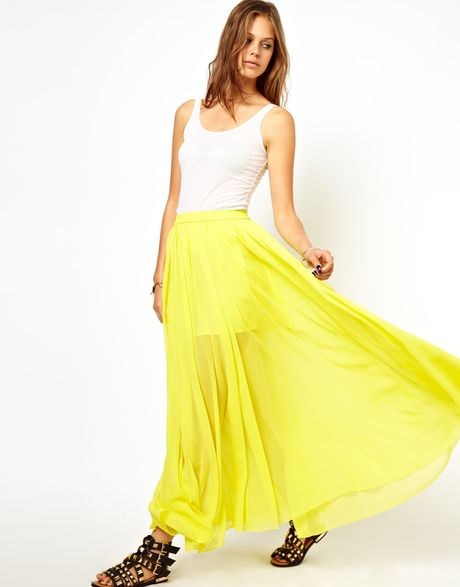 Asos maxi skirt with embroidered trim in yellow lyst