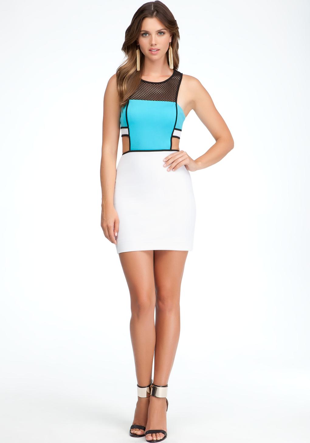 Lyst Bebe Sporty Mesh Side Cutout Dress In Blue