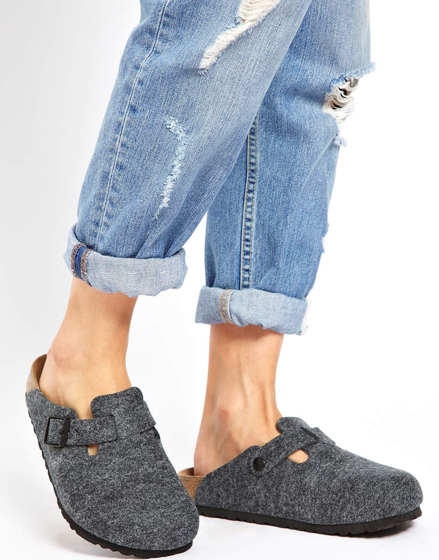 Birkenstock Boston Grey Wool Clogs In Gray Lyst