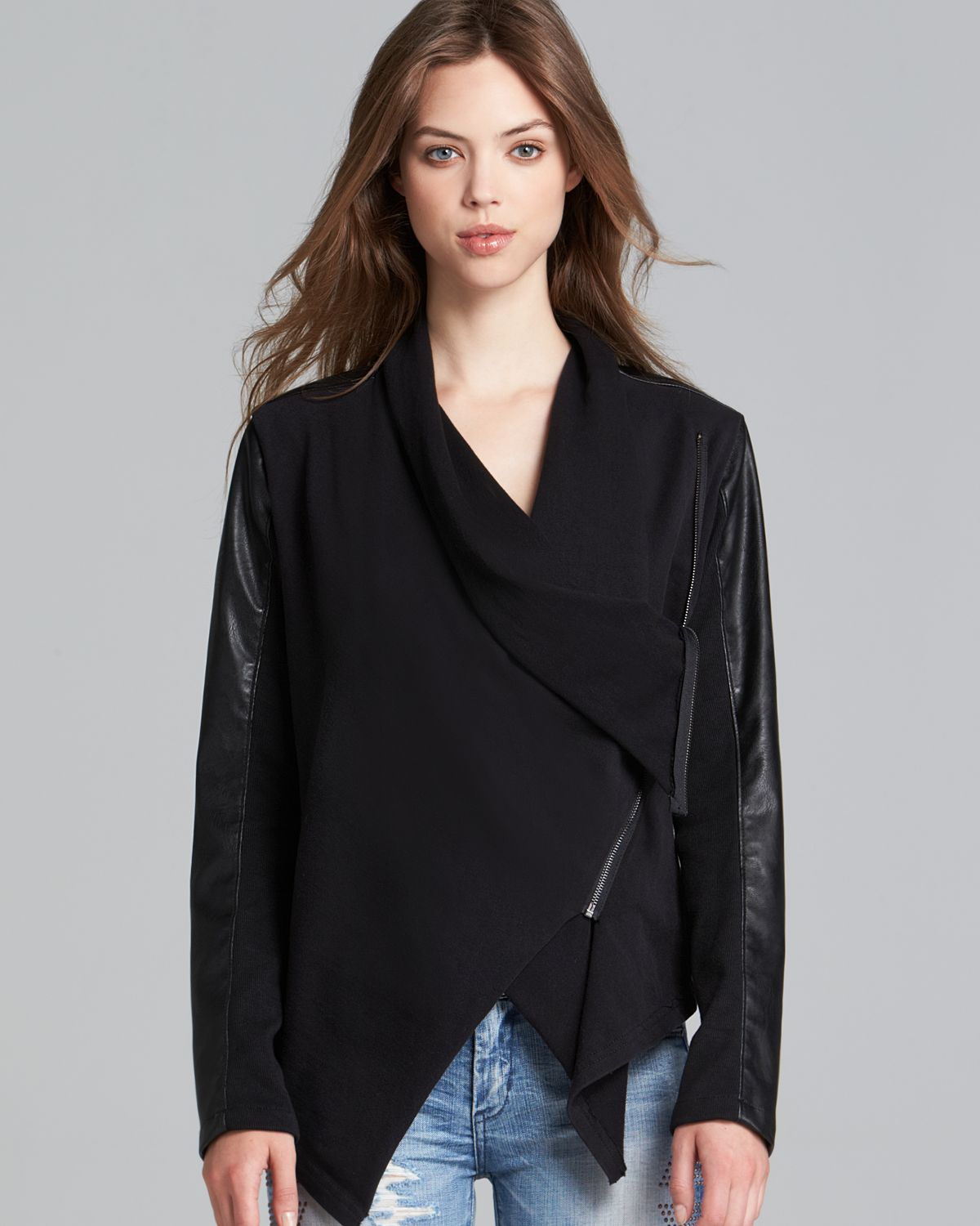 Lyst Blank Nyc Jacket Faux Leather Asymmetric Zip In Black