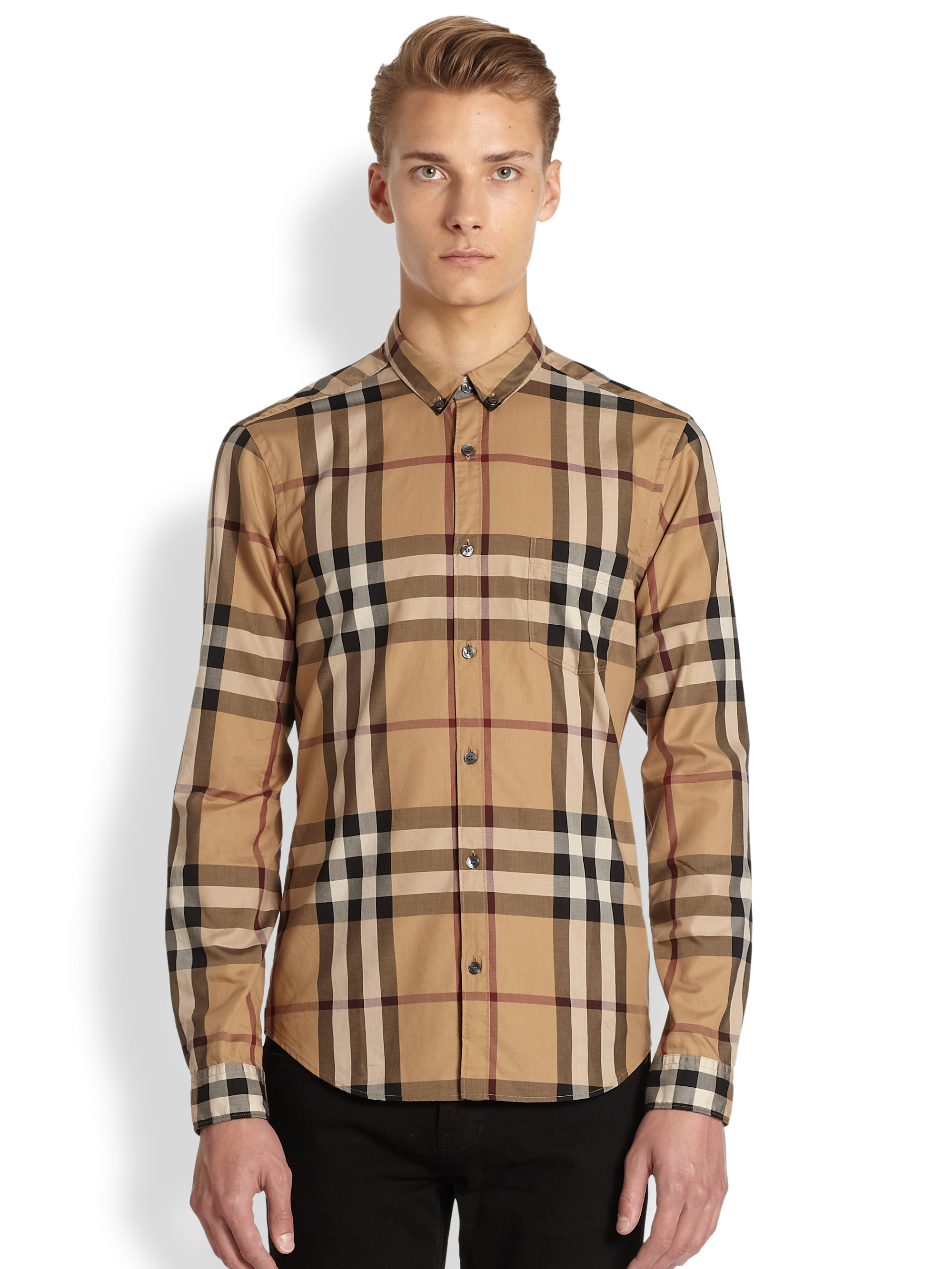 Burberry brit niall check sportshirt in natural for men lyst for Burberry brit green plaid shirt
