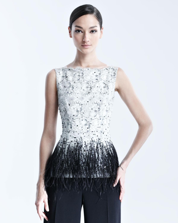 6dad18e859c0c6 Lyst - Carolina Herrera Womens Sleeveless Lace Blouse with Feather ...