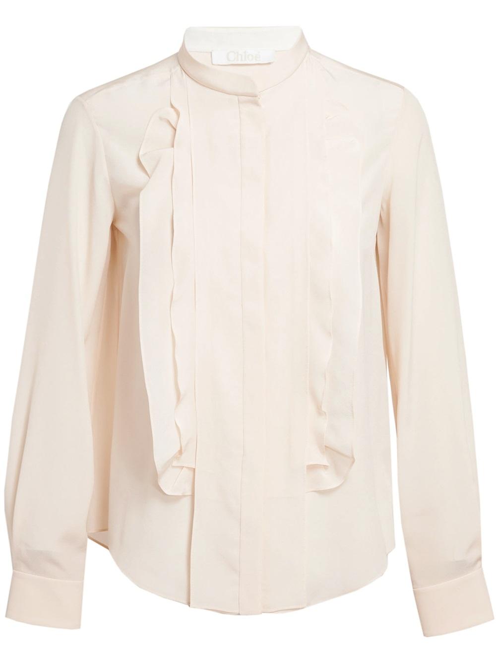 4b9fb1513de50 Lyst - Chloé Ruffle Placket Silk Shirt in Natural