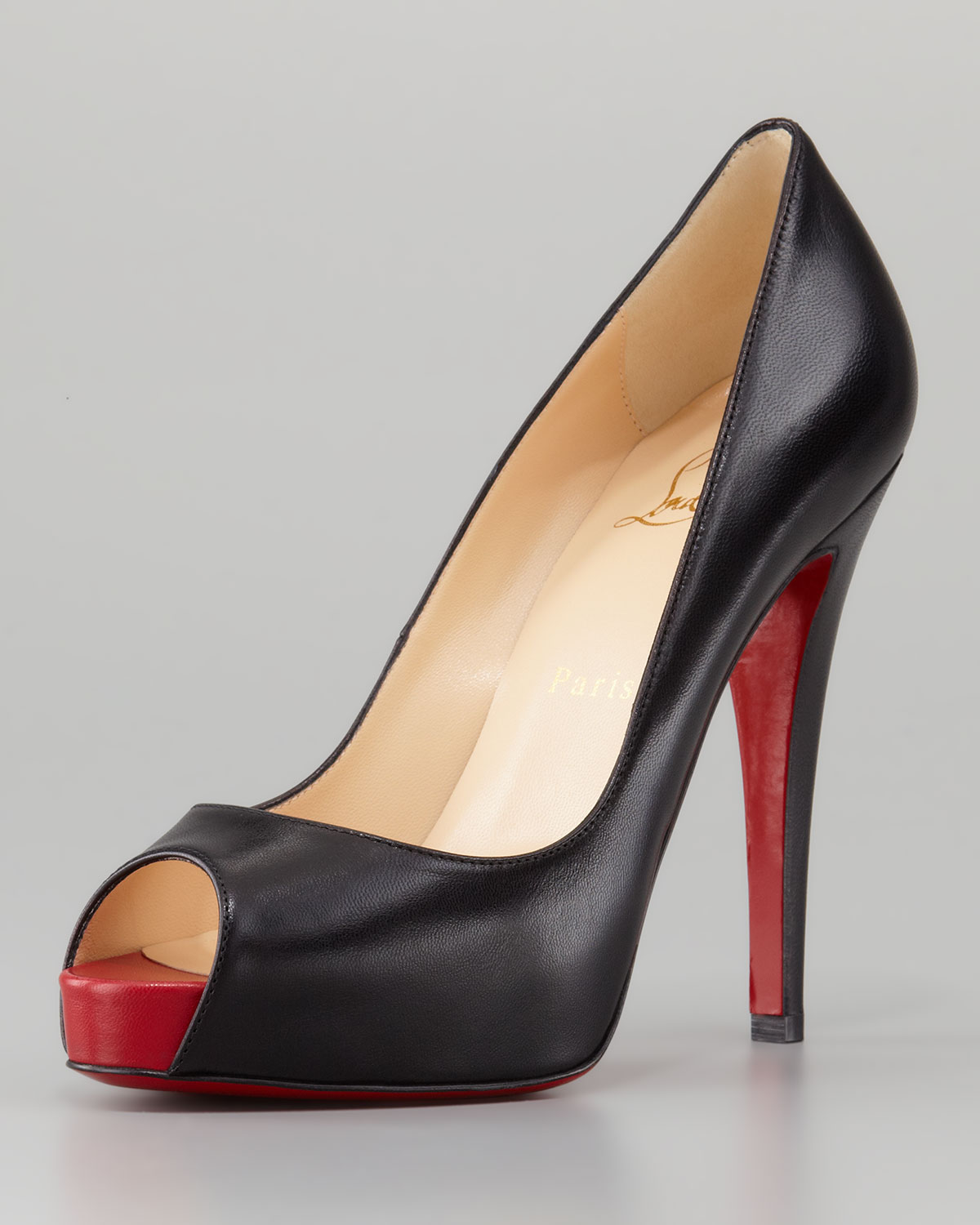 lyst christian louboutin very prive leather platform red sole pump rh lyst com