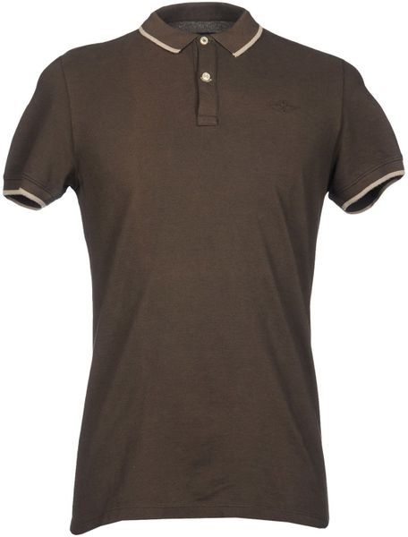 Dekker polo shirts in brown for men dark brown lyst for Black brown mens shirts