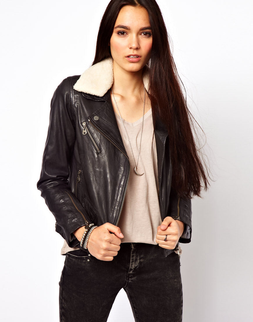 Lyst Doma Leather Soft Leather Biker Jacket With