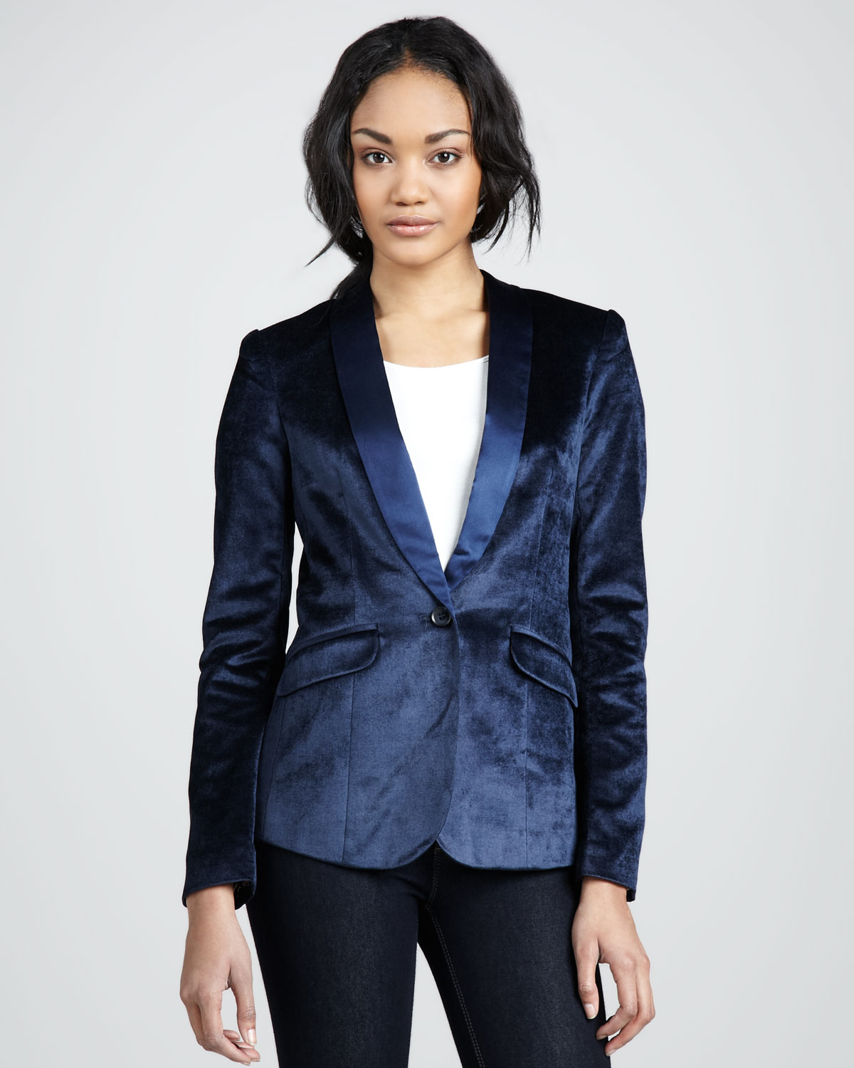 Elizabeth and james Womens Rex Velvet Blazer in Blue | Lyst