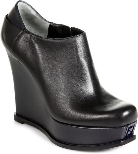 fendi sta leather wedge ankle boots in black black blue