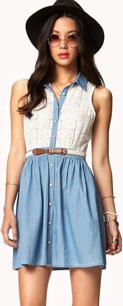 Forever 21 crocheted chambray shirt dress w belt in blue for Belted chambray shirt dress
