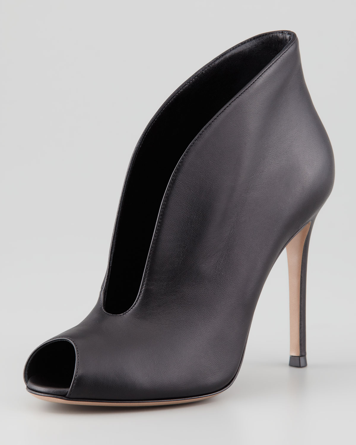 gianvito rossi womens flared splitfront peeptoe ankle boot black in black lyst. Black Bedroom Furniture Sets. Home Design Ideas