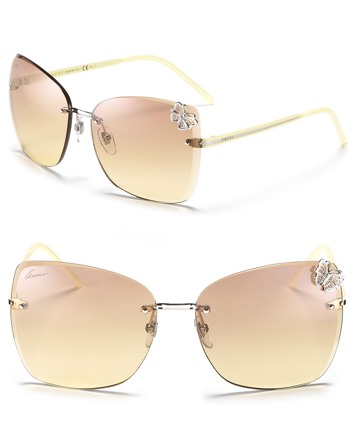 Rimless Butterfly Glasses : Gucci Oversized Rimless Butterfly Sunglasses in Metallic ...