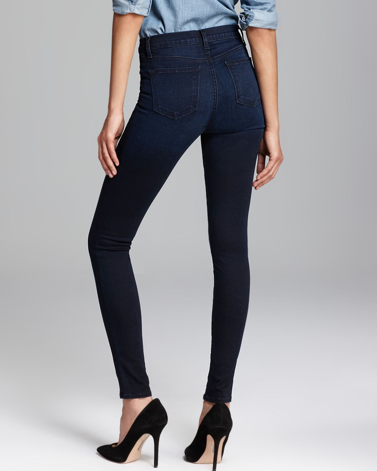 j brand jeans luxe sateen high rise maria skinny in atmosphere in blue lyst. Black Bedroom Furniture Sets. Home Design Ideas