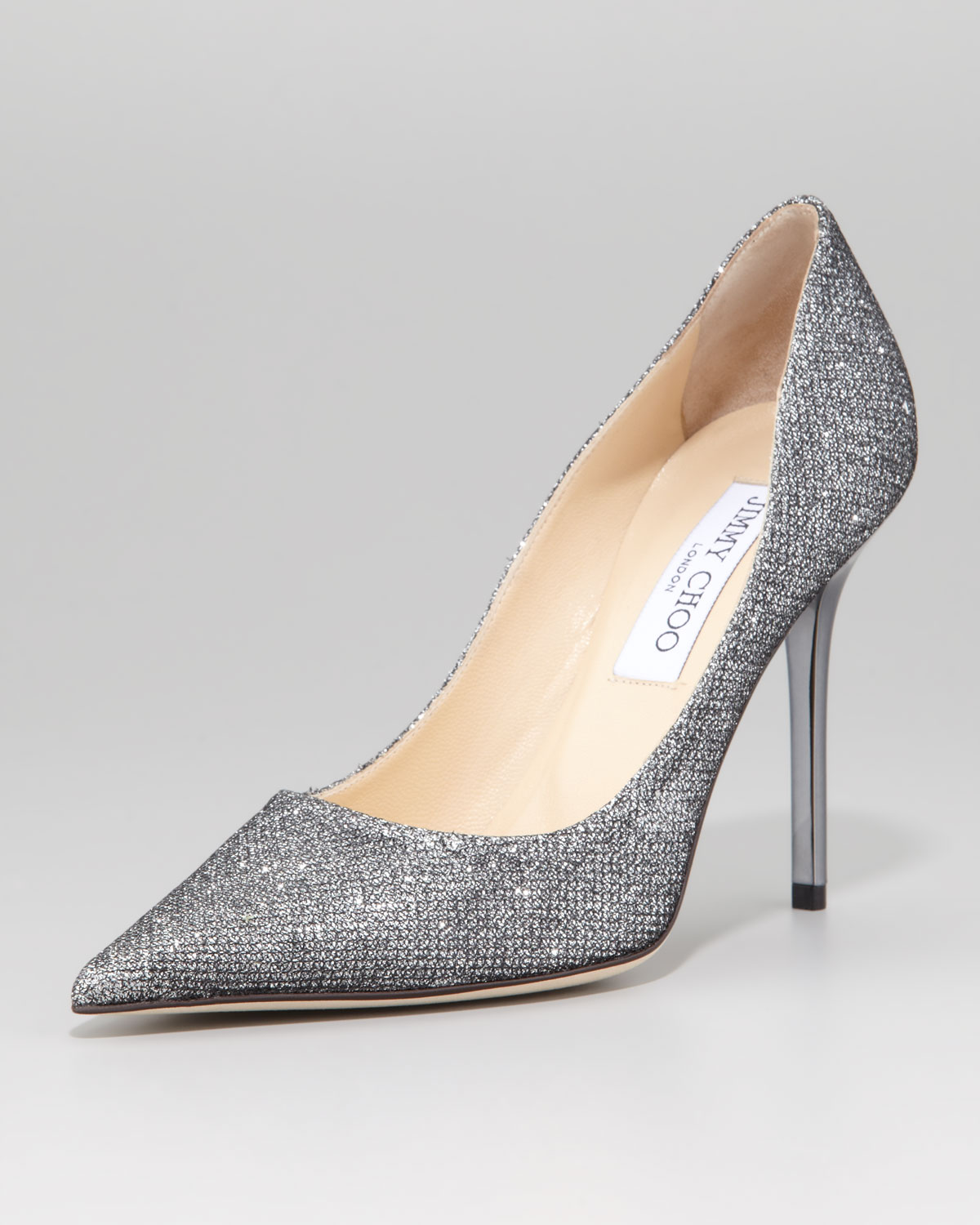 d383d2a7d4eb Lyst - Jimmy Choo Abel Glitter Pointed Pump Anthracite in Gray