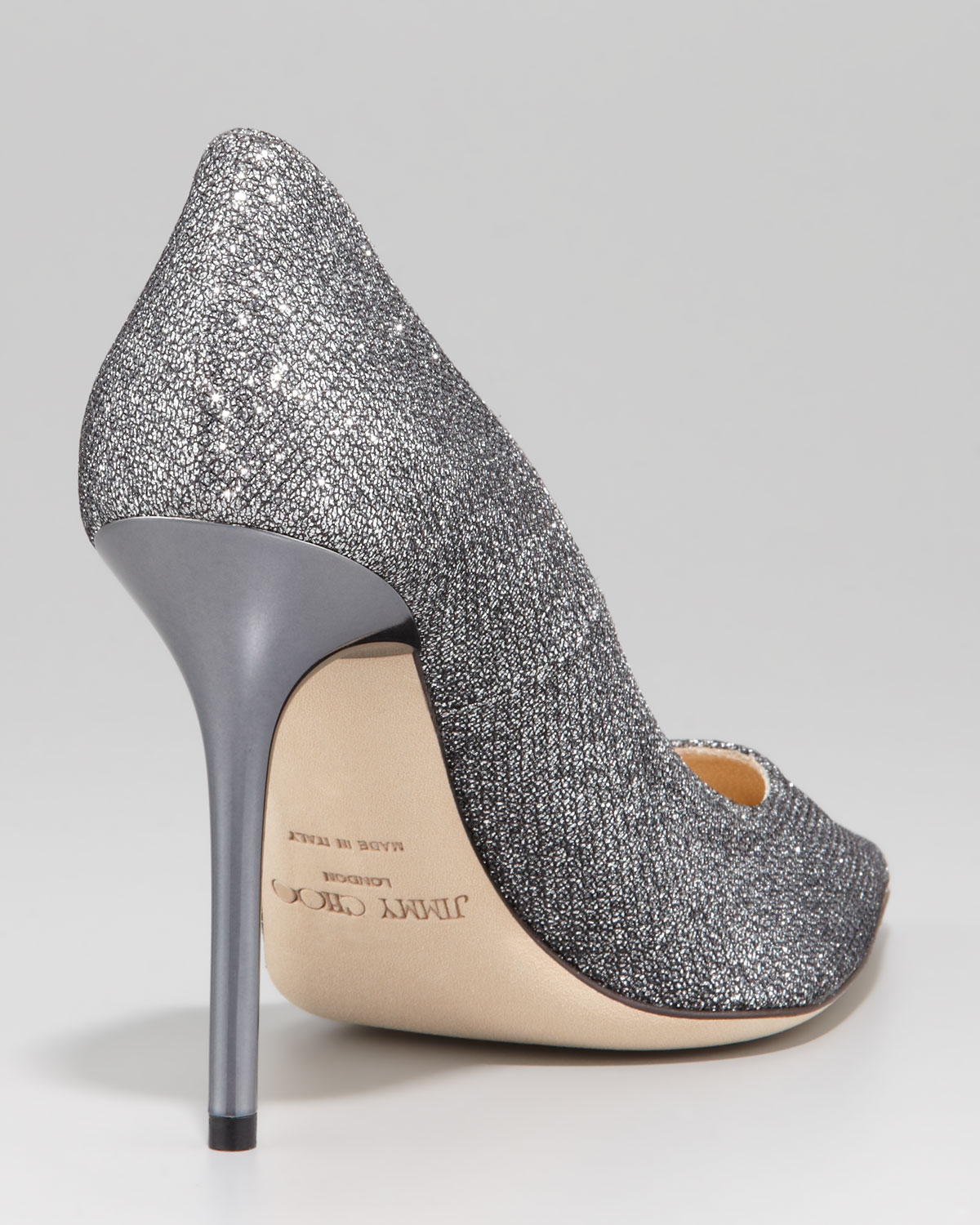 Lyst Jimmy Choo Abel Glitter Pointed Pump Anthracite In Gray