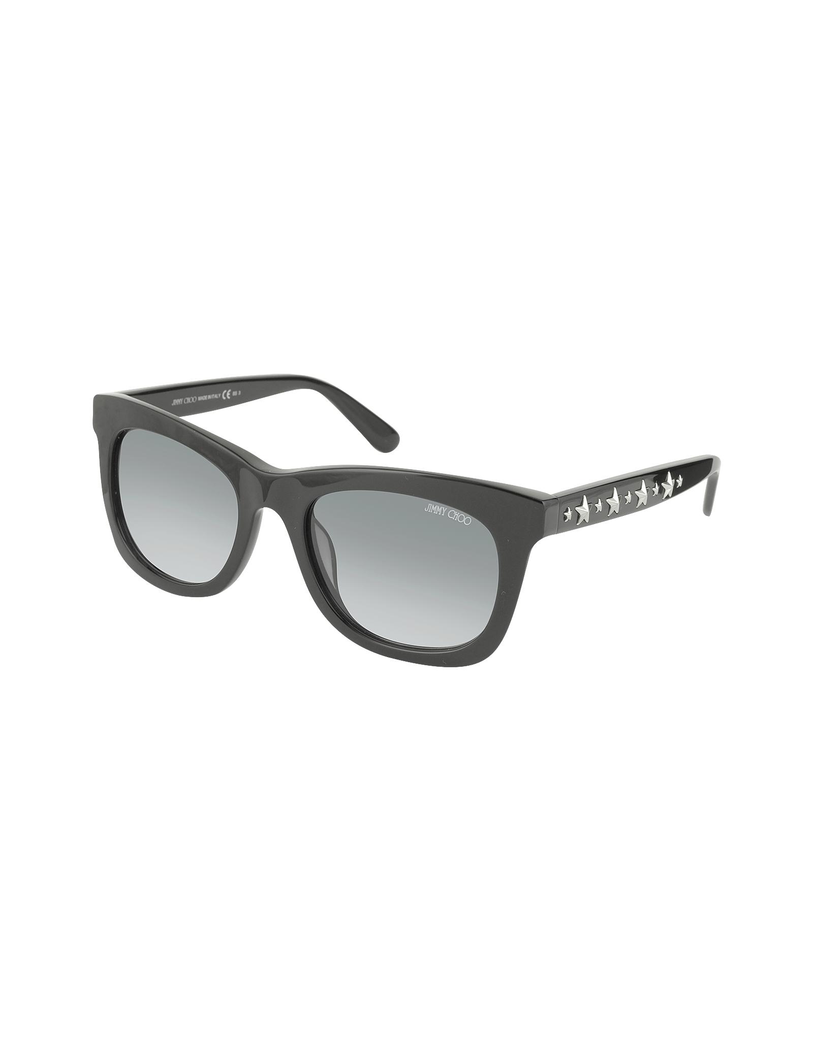 db82c2f1898 Jimmy Choo Sasha S 807Hd Black Square Frame Sunglasses With Silver ...