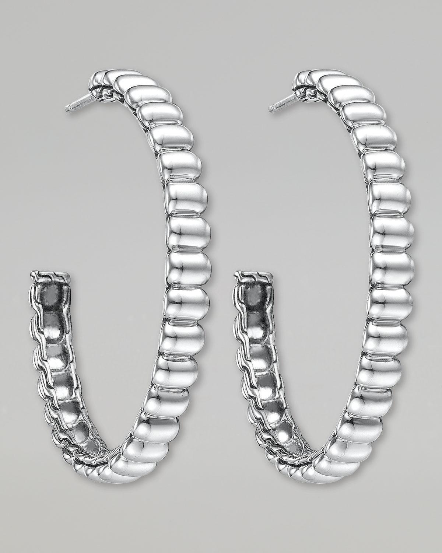 John Hardy Bedeg Rippled Black Sapphire Hoop Earrings, Medium