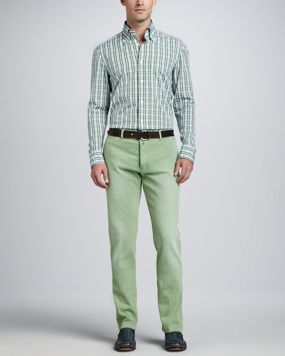 Kiton Washed Twill Flatfront Pants Light Green in Green for Men | Lyst